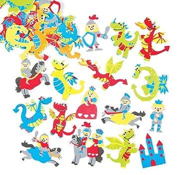 Pegatinas de Espuma con Diseños de Dragones para Decorar Tarjetas, Cuadernos, Manualidades y Collages Infantiles (Pack de 120)