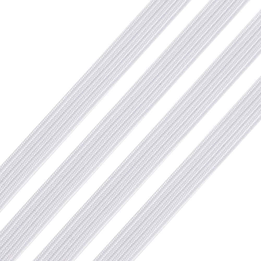 Cordone Elastico Rotolo di Corda Elastica Rotonda Intrecciata per Cucire Rotolo di corda elastica piatta bianca ad alta elasticit/à per cucito largo 6 mm e 10 Metro
