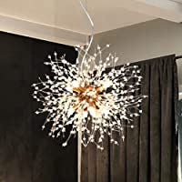 LynPon Moderno Sputnik Lámparas de araña dorado de cristal, lámpara de techo con…