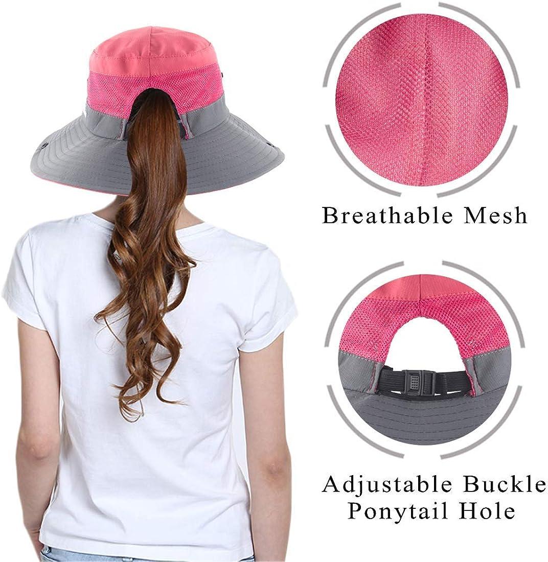 JHPMP Womens Outdoor UV Protection Foldable Mesh Wide Brim Beach Fishing Hats