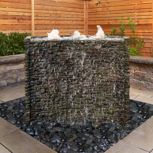 (Aquascape Stacked Slate Spillway Wall Landscape Fountain Kit with Aquabasin and Ultra Pump, 32-inch | 78269)
