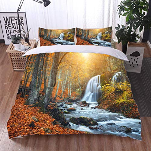 VROSELV-HOME 3 PCS King Size Comforter Set,Waterfall at Mountain River in Autumn Forest at Sunset,Soft,Breathable,Hypoallergenic,with 1 Pillowcase for Kids Bedding