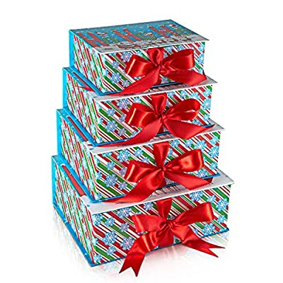 Christmas Nested Gift Box Tower Set of 4; Rectangular Shape with Red Ribbon Closure