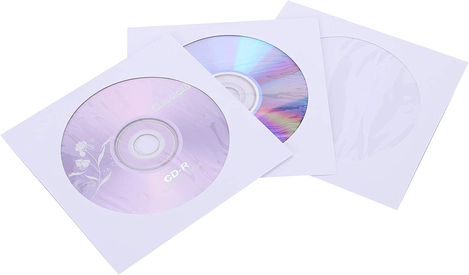 PacificMailer Paper CD DVD Disc Sleeves Envelope with Window Cut Out and Flap, Premium Thick [120g Heavy Weight, Pack of 100]