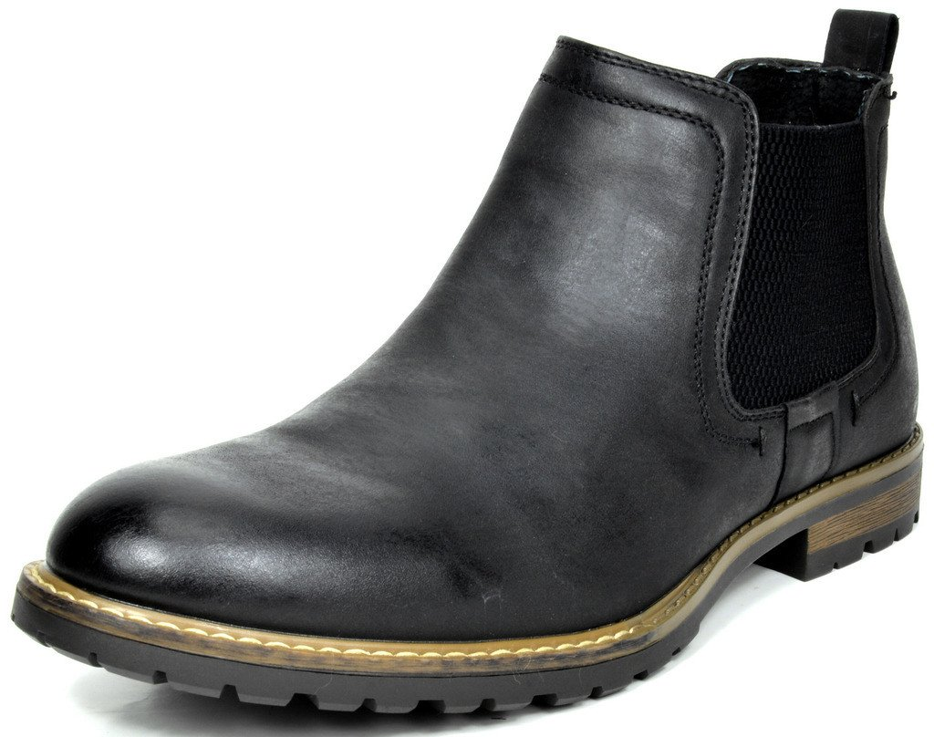 BRUNO MARC NEW YORK Bruno Marc Men's Philly-2 Black Leather Lined Chelsea Dress Ankle Boots - 12 M US