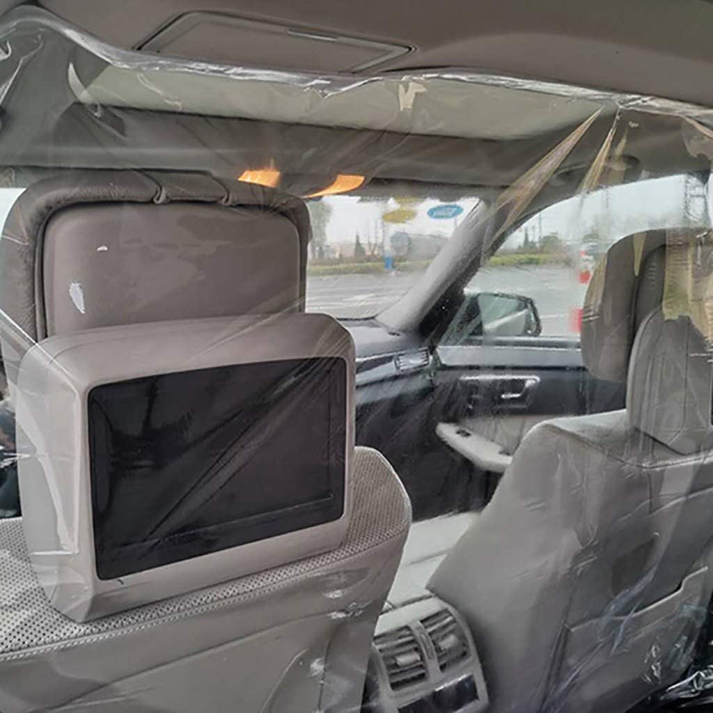 PVC Material Temporary CABI Separate Car Rear and Front Detachable Clear Plastic Film for Cabin Reusable and Durable for Taxi Sedan SUV MPV Lykmera Transparent Car Insulation Film