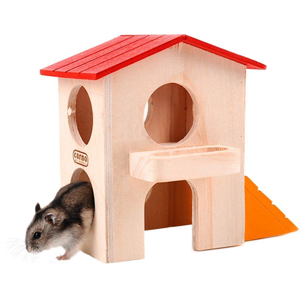 Namgiy hamster gerbilles Cage Nid rats écureuil Maison en bois pour petit animal Fournitures