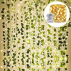 KASZOO 84Ft 12 Pack Artificial Ivy Garland Fake Plants, Vine Hanging Garland with 80 LED String Light, Hanging for Home Kitchen Garden Office Wedding Wall Decor, Green 41