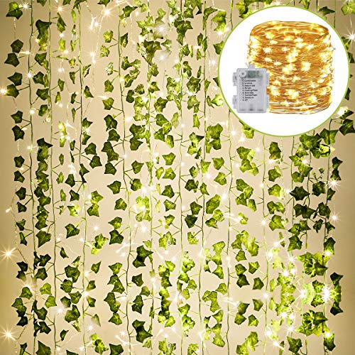 KASZOO 84Ft 12 Pack Artificial Ivy Garland Fake Plants, Vine Hanging Garland with 80 LED String Light, Hanging for Home Kitchen Garden Office Wedding Wall Decor, Green ()