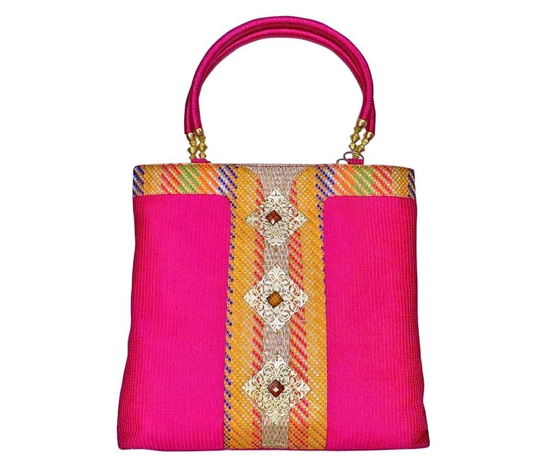 Bhamini Raw Silk Handbag with Wooden Stone Gold Brooch