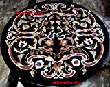 Sofa Center Table Top 36'' Diameter Black Marble Luxury Inlay Unique Design