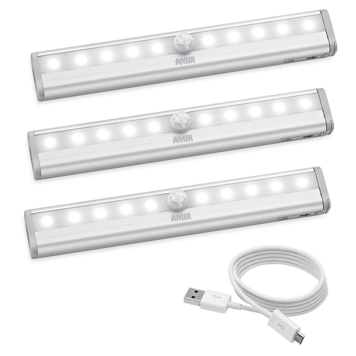 Amir 10 LEDモーション検知クローゼットライト 10 LED UF17_3PCS Motion Sensor Lights B072R22HSG 11619 ホワイト ホワイト