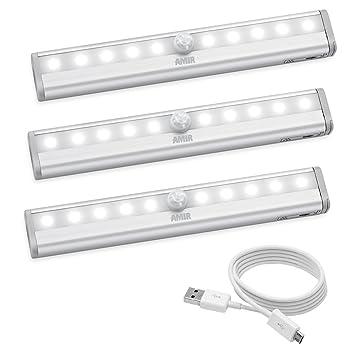 AMIR Motion Sensing Closet Lights, DIY Stick On Anywhere, 10 LED Wireless  Night