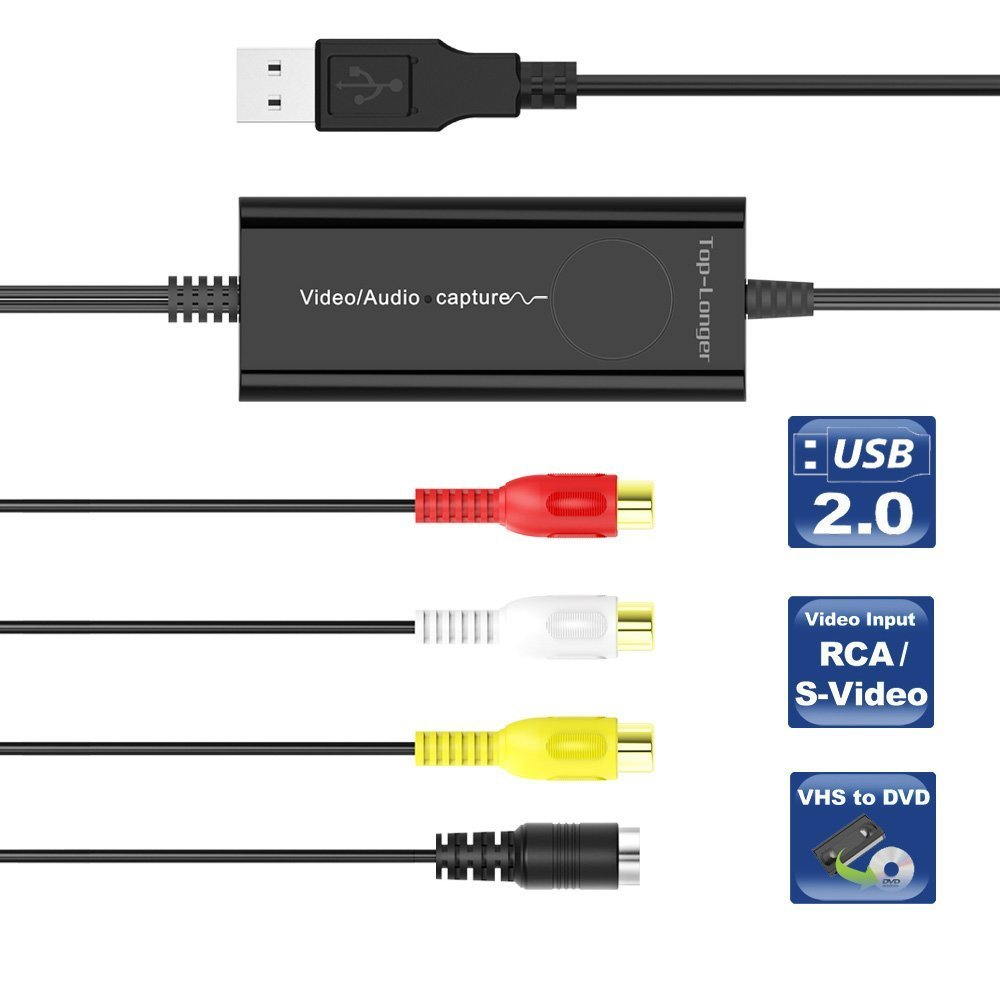 Top-Longer External USB 2.0 Video/Audio Capture Card for Mac OS X and Windows - S Video/Composite to USB Transfer Cable - Scart to RCA Adapter Included