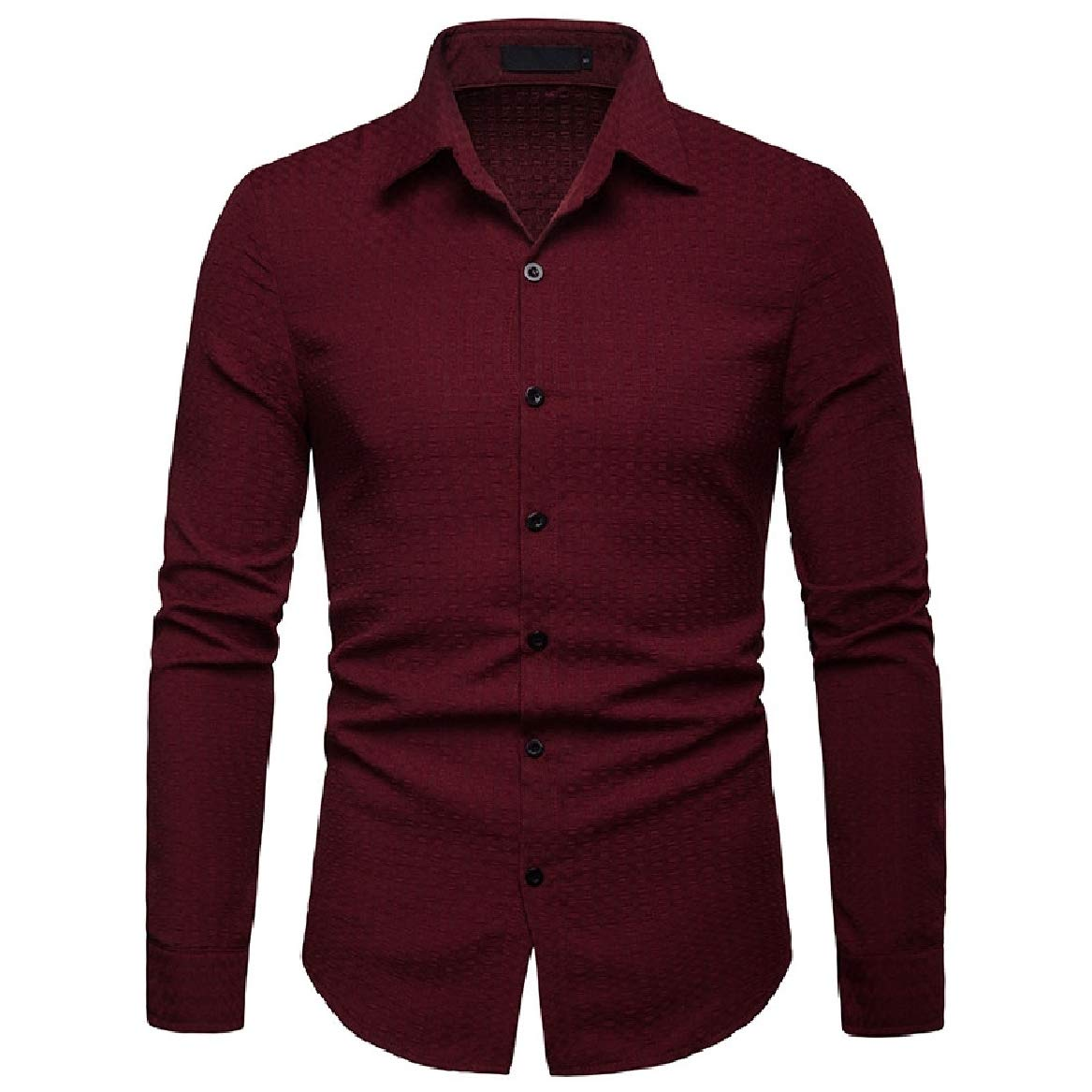 Sayah Mens Pure Color Trim-Fit Long Sleeve Lapel Collar Casual Dress Shirt