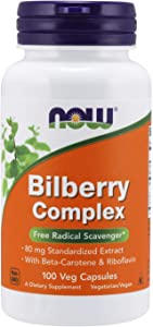 NOW Supplements, Bilberry (Vaccinium myrtillus)Complex 80 mg with Beta-Carotene & Riboflavin, 100 Veg Capsules