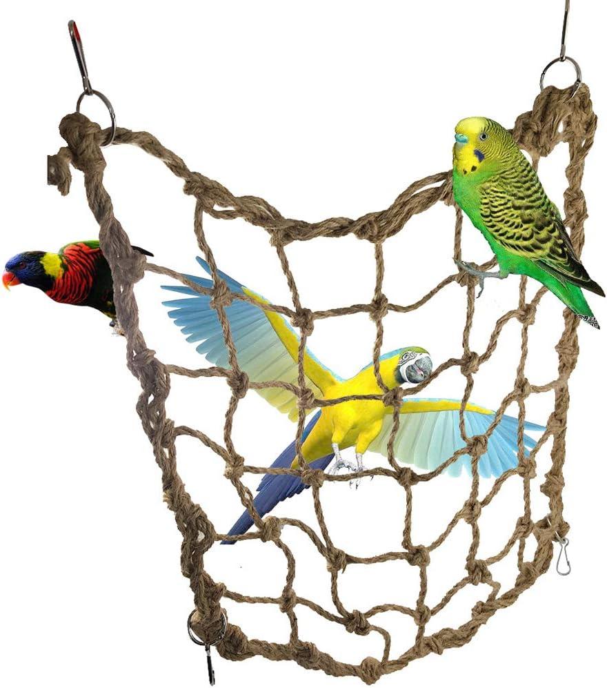 Ogquaton 1 UNIDS Durable Loro Cáñamo Cuerda Neta con Gancho Pájaro Escalada Neto Columpio Escalera Hamaca de Juguete para Loro Pequeño y Mediano