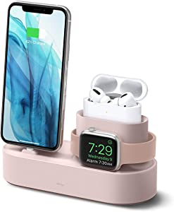 elago 3 in 1 Charging Station for Apple Products, Designed for Apple AirPods Pro, iPhone 11 Pro Max/11 Pro, All Apple Watch Series [Original Cables Required-NOT Included] (Sand Pink)