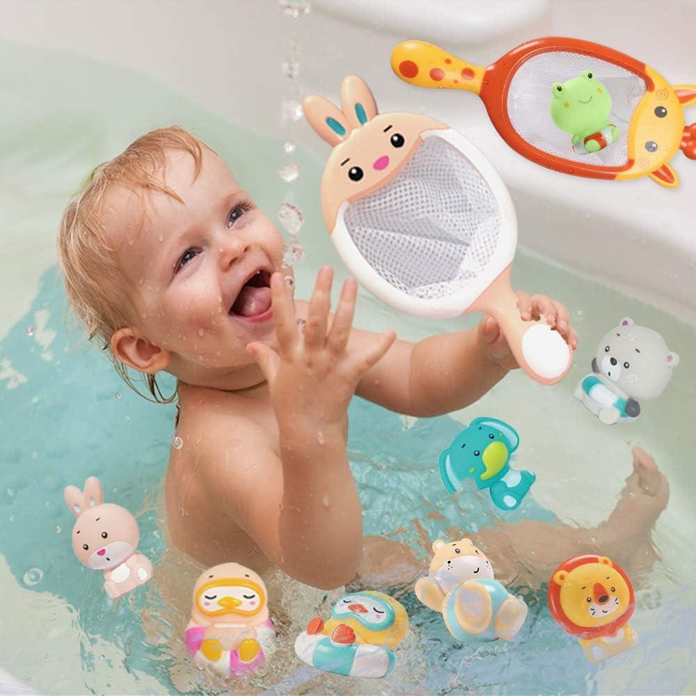 Sotodik Baby Bath Toys Set with 8PCS Soft Cute Ocean Animals Bath Squirter and 2PCS Fishing Net Water Toys Bathtub Bathroom Pool Sea Animal Toys for Kids Giraffe+Rabbit