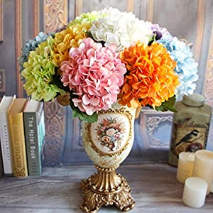 handfly Artificial Flowers, Fake Flowers Silk Plastic Artificial Hydrangea Flower Bridal Wedding Bouquet for Home Garden Party Wedding Decoration (Pack of 1) 31