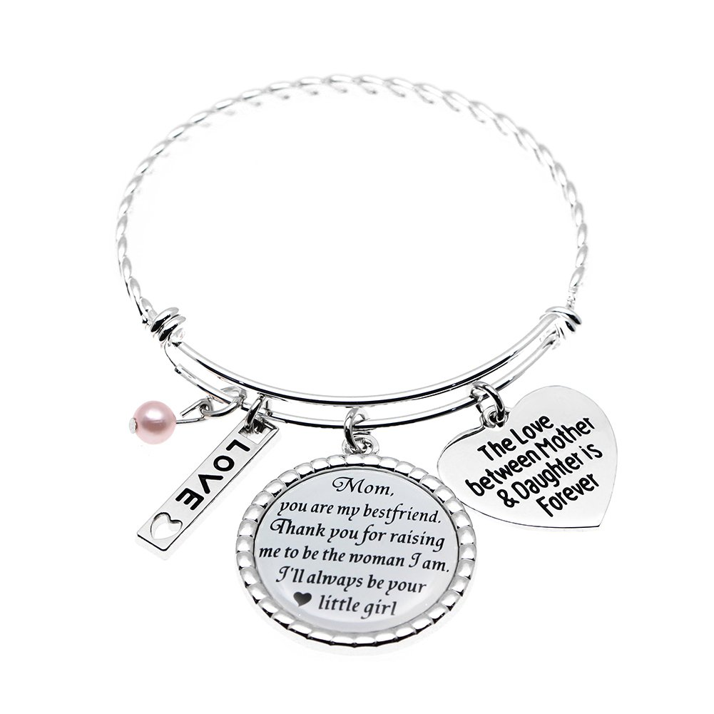 Stainless Steel Wedding Gift for Mom Bracelet, The love between Mother & Daughter is Forever, Holiday Wedding Keepsake Glass Dome Bangle.