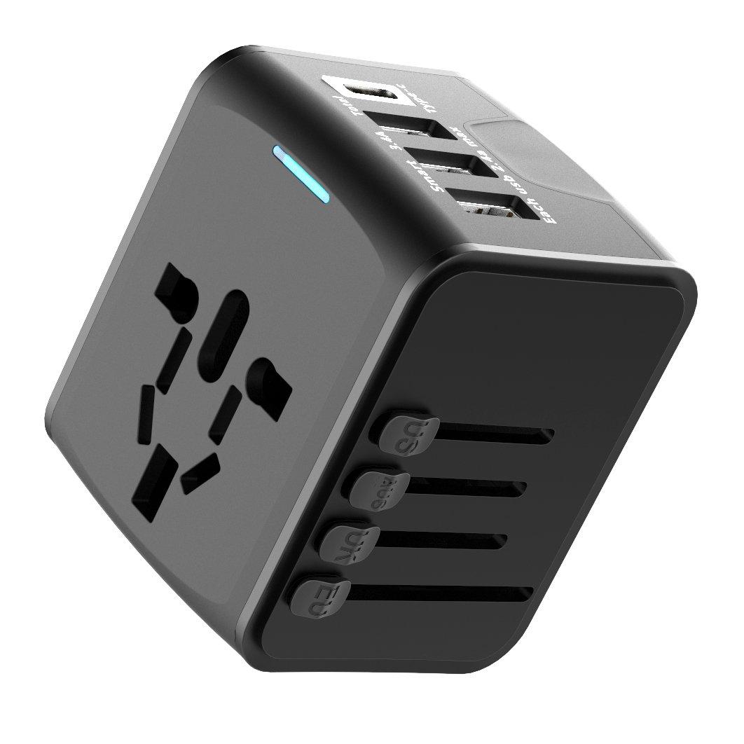 Extsud Cargador Viaje Universal, adaptador internacional con mecha de seguridad y 3 USB (5 V 2.4 A) & 1 Type C (5 V 3 A) Adapteur Cargador USB convertidor para US Uk Aus EU aproximadamente 150 Paí ses Univer