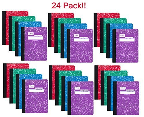 Book 100 Sheet (Mead 09918 Composition Book, 100 sheets, wide ruled, assorted colors - 24 pack)