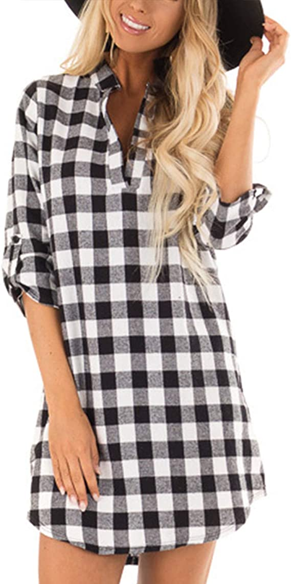 Women Casual Shirt Dress with Pockets