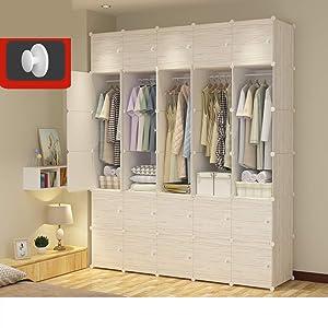 Xnxn Wood Pattern Armoire Wardrobe Armoire Closet with Hanging Rod, Portable Bedroom Armoire Modular Cabinet Garment Rack Cube Storage Shelf-w L183xw47xh219cm(72x19x86inch)