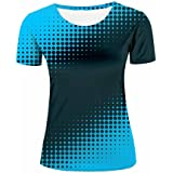 Women Short Sleeve T-Shirt Creative Gradient Blue/Wave Point 3D Geometry Printed Summer Tees