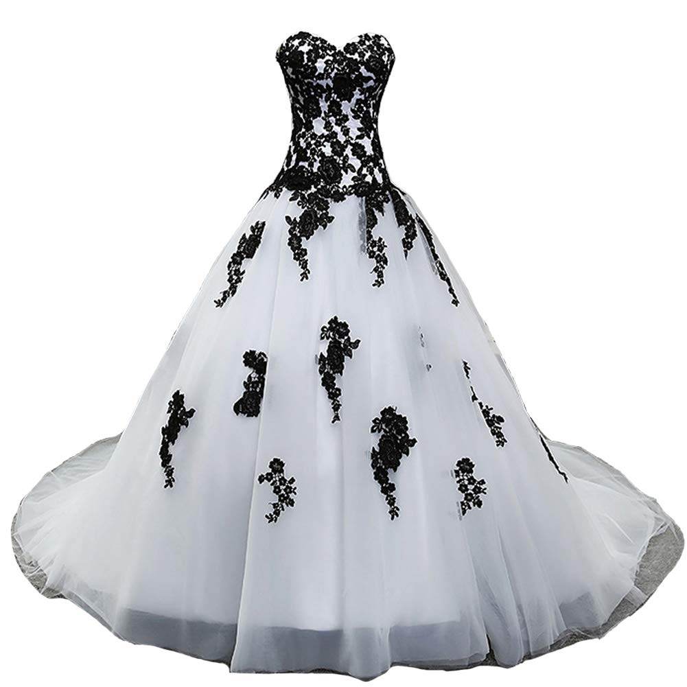 Gothic Vintage Black Lace Corset Dropped Ball Gown Prom Wedding Dresses White 14