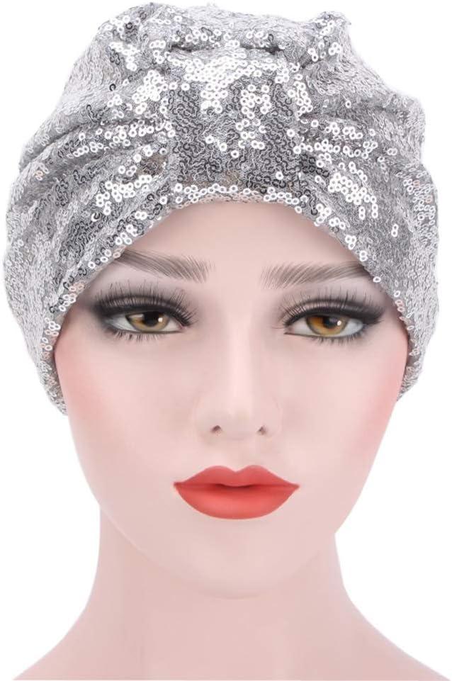 Argent LLZIYAN Sequin Turban Chapeau Bowknot Bonnets Chapeau Headwrap Cap Chapeau Doux Respirant pour Les Femmes