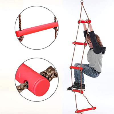 NAIZEA Climbing Ladder Climbing Rope Ladder for Kids, Playground Hanging Ladder Toy Exercise Equipment for for Indoor Play Set and Outdoor Tree House, Playground Swing Set and Ninja Slackline (Red ): Toys & Games