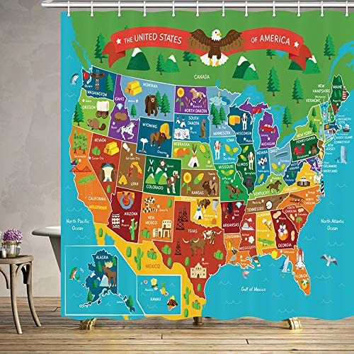 JAWO Kids Cartoon United States Map Shower Curtain for Bathroom, Children\'s  Fun Facts Geography USA Map Profession Waterproof Polyester Fabric Bath ...