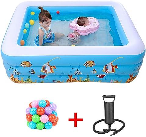 YANGMAN Centro de natación Inflable Familiar con Piso Suave Inflable, Piscina para niños Ocean World de 71 Pulgadas con Bomba de Aire Manual y 100 Bolas Marinas: Amazon.es: Hogar