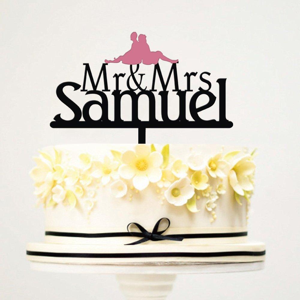 KISKISTONITE Cake Topper Wedding College Good Memory Design | Personalized Mr & Mrs Name Initial Custom Wedding Black Cake Decoration Favors Party Decorating Supplies