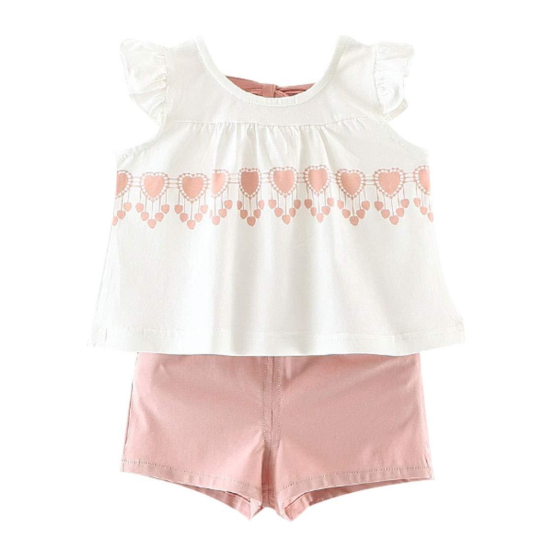 FCQNY Kid Girl Summer Outfits White Ruffle Sleeve Cotton Tee Tops+Shorts Set 2Pcs