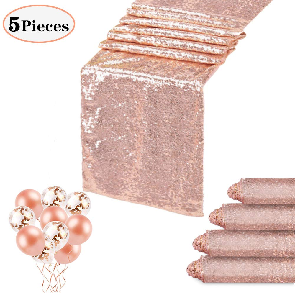 QueenDream 12x108 Inches Rose Gold Sequin Table Runners Wedding Table Runners-5 Pack and Confetti Balloons Rose Gold Latex Balloons for Party Festival and Home Decorations by QueenDream