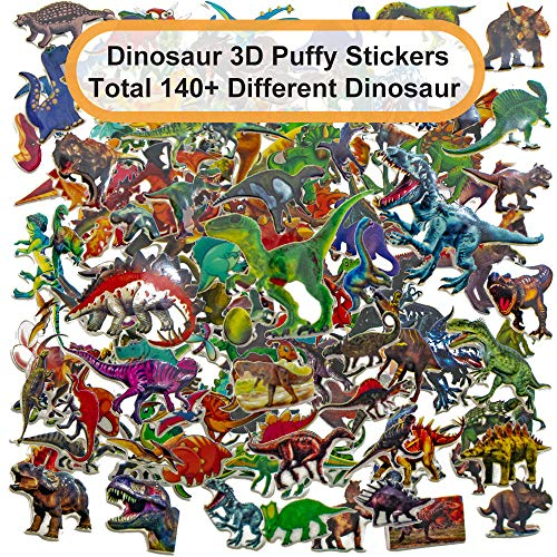12 Sheets Diffrent Dinosaurs 3D Puffy Stickers Craft Scrapbooking Over 140 Stickers (Feature Tyrannosaurus Velociraptor Pterosaur Triceratops Brachiosaurus Wyvern Footprints) (Dinosaur 12 Sheets) ()