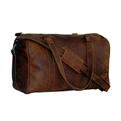 Amazon.com | LUST Crazy Horse Leather Travel Duffel Bag Boarding ...