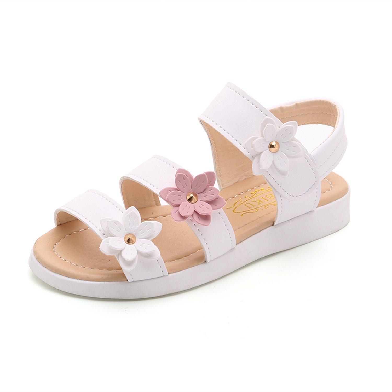 Kinggolder Girls Sandals Girl Flower Princess Sandals White 4.5