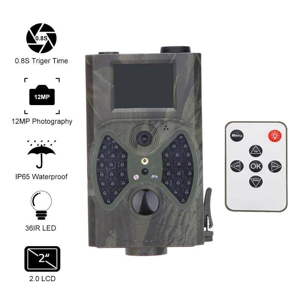 La chasse Digital Camera 12MP HD Outdoor écran LCD de 5, 1cm Vision de nuit infrarouge Déclencheur de mode Rafale Super Speed avec télécommande (Camouflage vert) MINKOO