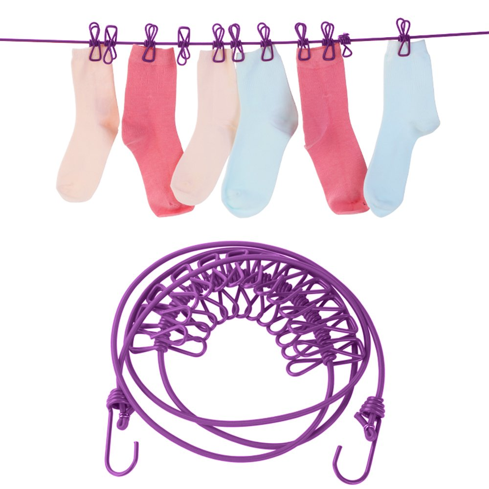 Purple Portable Travel Adjustable Clotheslines Retractable with 12pcs Clothespins Lightweight Household Bungee Cord for Outdoor or Indoor 72 inch Set of 2 LOHOME Elastic Clothesline