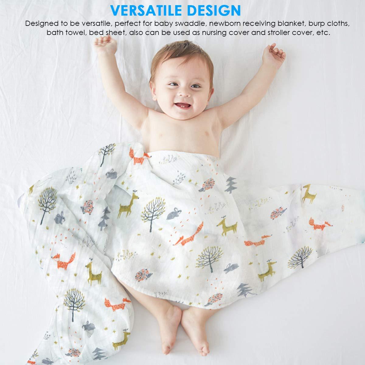 para ni/ños Regalos de ni/ñas 47x47 4Pcs Swaddle para beb/é unisex manta de dibujos animados con estampado de animales Reci/én nacido Recubrimiento de manta Super suave Mantas Swaddle de muselina