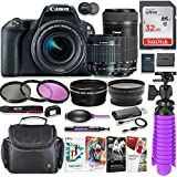 Canon EOS Rebel SL2 24.2MP DSLR Camera with Canon 18-55mm STM Lens & Canon EF-S 55-250mm is STM Lens + 32GB SD Memory + HD Filters + Spider Tripod + Professional Bundle with Corel Software Kit