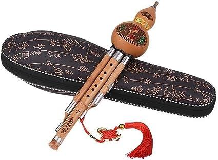 Agudos C-Key Hulusi cucurbitáceas flauta de bambú calabaza de botella Tubos instrumento tradicional chino con la caja china nudo Carry (Color : A): Amazon.es: Instrumentos musicales