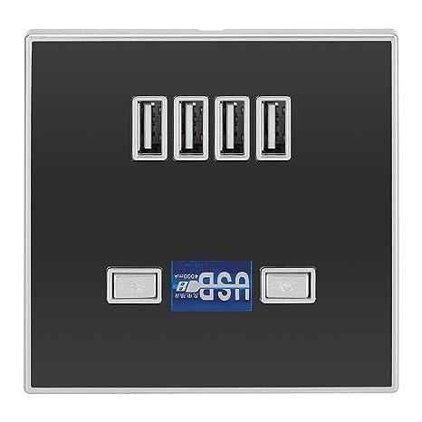 Fdit Cargador USB Ligero 4 Puertos LED Estación de Enchufe de Pared para Sitios de Construcción Socialme-EU(2#Negro)
