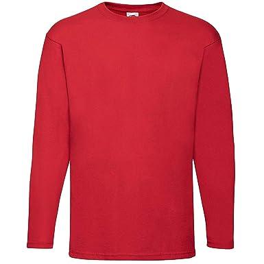 0cb0053cc0c Fruit of the Loom Valueweight Long Sleeve T-Shirt SS032 (M, Red): Amazon.co. uk: Clothing