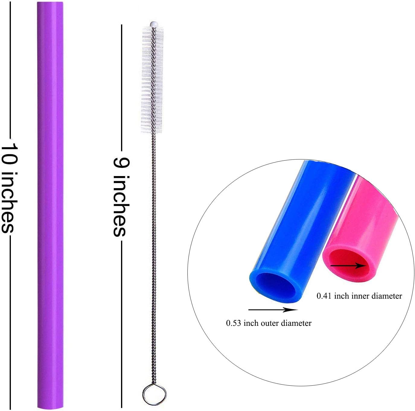"""ALINK Reusable Boba Smoothie Straws, 10"""" Long Extra Wide Fat Silicone Straws for Drinking Bubble Tea, Milkshakes, Set of 6 with Cleaning Brush"""