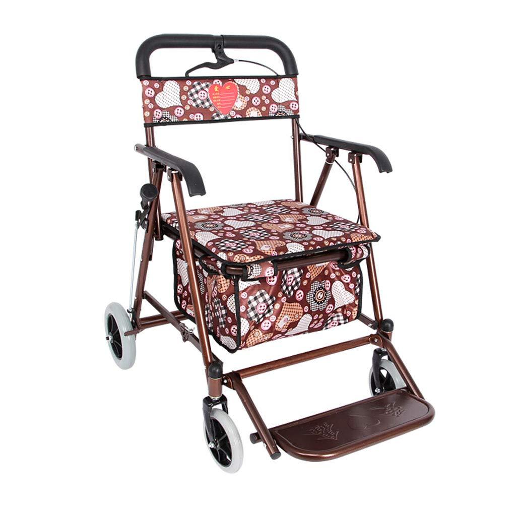 XF ショッピングキャリー 老人ショッピングカートトロリーウォーカーは折りたたみカートに座ることができます - 赤 (´••`) B07KSRRSLD